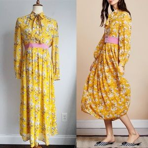 SISTER JANE Yellow Floral Belted Susan Midi Dress